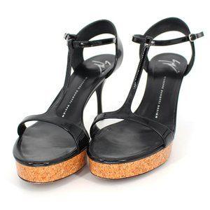 Giuseppe Zanotti Black T Strap Cork Platform Heels